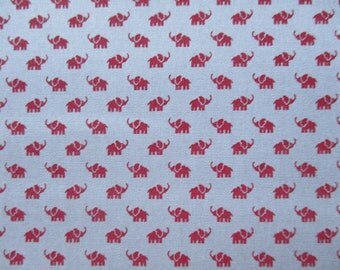 Gray with Small Red Elephant Cotton Fabric