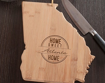 Georgia State Shaped Cutting Board, Engraved Georgia Shaped Cutting Board
