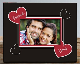 Couples Picture Frame, Personalized Hearts Photo Frame