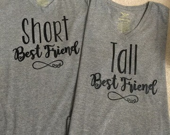 Diy IRON On * Short Friend/ Tall Friend Shirt Set, Best friend shirt set, BFF shirt sets, iron on shirts, DIY best friend iron on