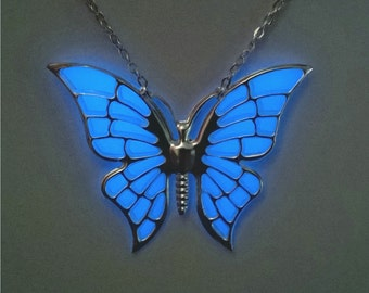 Blue Glow in the Dark Necklace - Glowing Butterfly - Easter - Glow Pendant - Girlfriend Gift - Gifts for Her - Teen Gift - Gift for Women