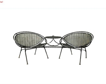 10% Off Sale! Vintage Mid Century Modern Salterini Wrought Iron Patio Tete a Tete Table & Chairs