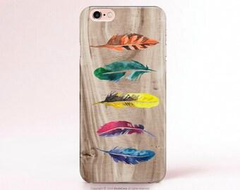 Feathers iPhone 6 Case feather iPhone 5 Case feather iPhone 5s Case Watercolor iPhone 6s Case wood iPhone 6 PLUS Case iPhone 4 case [245]