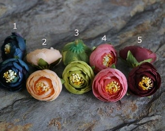 10pcs-Ranunculus,Silk Ranunculus Flower Heads,Artificial Flowers,Millinery Flower Crown,Headpiece,Miniature Corsages & Boutineers