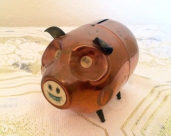 Vintage Copper Piggy Bank with Hologram Eyes and Mouth