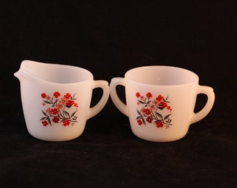 Vintage Fire King Primrose Pattern White Milk Glass Cream and Sugar