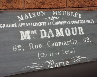 Mme. DAMOUR FRENCH Sign/French Decor/Paris Decor