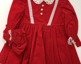 Vintage Velvety Dress with Purse - Christmas Dress - 18-24 months