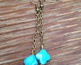 Blue beads and thin chains bronze earrings