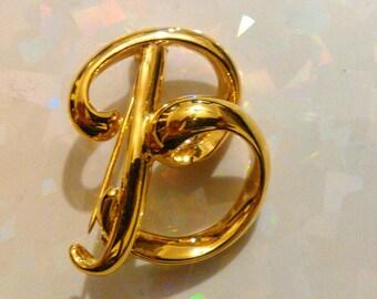 "Anne Klein II Gold Tone Metal Initial ""B"" Brooch/Pin"