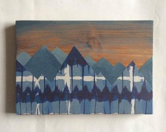 Mountain series, landscape. Wooden sign, mountain art, ski sign, home decor, nursery art, wall art, ski art, wood sign, mountains
