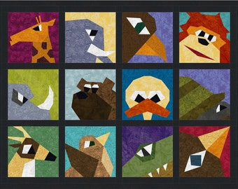 Quirky Animal Close-Ups - 12 Quilt Block Patterns - Foundation Paper Piece Patch - PDF Download