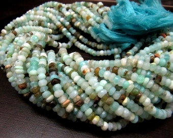 100 % Natural and Genuine Peruvian Opal Beads Rondelle Faceted Size 4 to 5mm, Full Strand 13inches Long, Convo for Bulk Quantity -Low Prices
