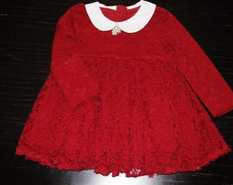 Sale Ready to Ship Girls Red Lace Dress, Christmas Dress, Girls Dress, Toddler Dress