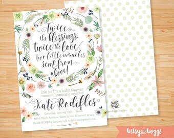 Printable Bohemian Twin Baby Shower Invitation // Custom Invite // Personalized // Baby Shower Invitations
