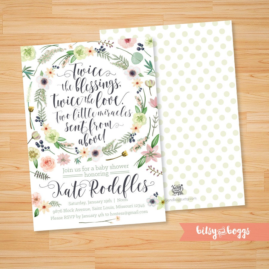 printable bohemian twin baby shower invitation custom