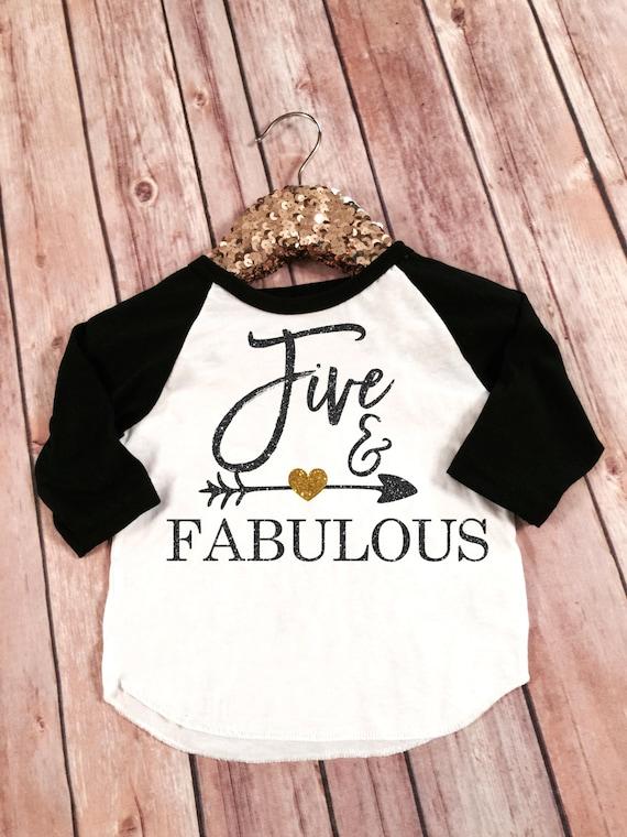 Five and Fabulous 5th Birthday Black sleeved raglan Shirt
