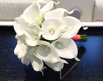 White Calla Lily Bouquet, Calla Lily Bouquet, White Calla Lily Wedding Bouquet, Calla Lilies, White Bouquet, Real Touch Calla Lilies
