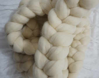 Milk white , wool blend basket filler, newborn prop