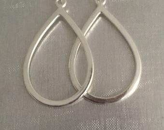 Sterling silver earrings with hoop charm