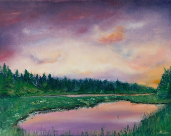 Sunset reflecting in water painting, original oil paitning,  purple green textured palette knife thick impasto FREE  US SHIPPING
