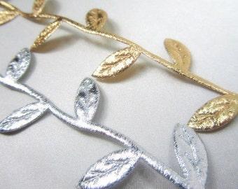 Silver or Gold Metallic Vine Leaf Trim (2yds)