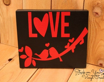 Love birds small hanging wood sign
