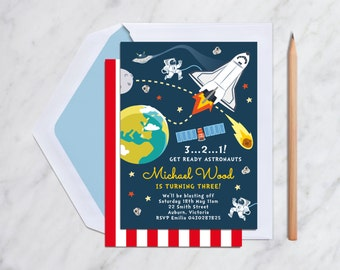 Space Rocket Birthday Invitation Card Printable