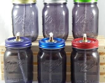 Mason Jar Tiki Torch - Logo Pint Purple