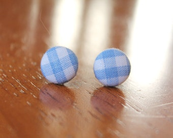Mini Button Earrings - Light Blue Gingham Print Fabric Covered Button Earrings