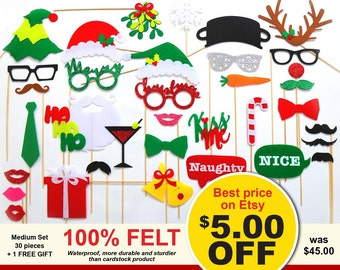 36pcs Christmas Photo Booth Props - FELT and GLITTER Photo Booth Props - Holidays Photo Booth Props - Christmas Decorations