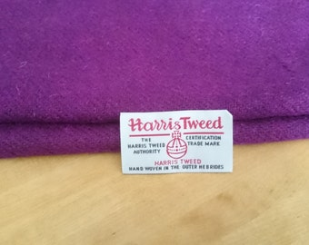Harris Tweed Cloth Fabric Rich Purple Luxury Handwoven 100% Pure Virgin Wool handwoven in Outer Hebrides Scotland