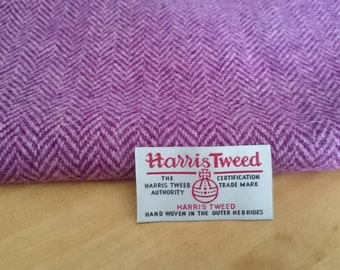 Harris Tweed Cloth Fabric Radiant Orchid Pink Mauve Herringbone Luxury Handwoven 100% Pure Virgin Wool handwoven in Hebrides Scotland