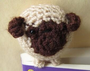 Book Buddy Pug Dog Bookmark - Crochet Amigurumi Gift, Toy, Finished Product