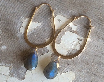 Labradorite on 14K gold fill Hoop Earrings