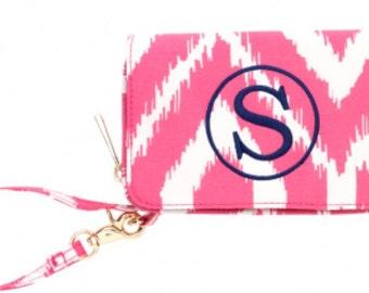 Pink Ikat Wristlet