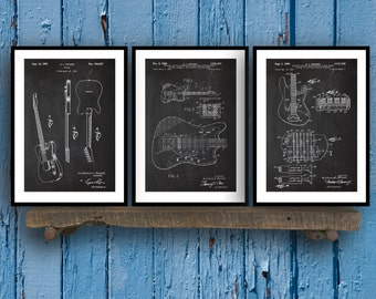 Fender Guitar Poster - 3 PACK,  Fender Guitar Blueprint, Fender Guitar Patent, Fender Guitar Prints, Fender Guitar Art, Guitar Decor, Sp42