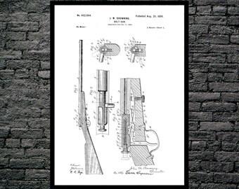 Browning Bolt Gun Poster, Browning Bolt Gun Patent, Browning Bolt Gun Print, Browning Bolt Gun Art, Browning Gun Blueprint, Gun Decor