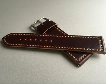 Horween shell cordovan watch strap in #8 colour with box stitching 18mm, 19mm, 20mm, 21mm, 22mm