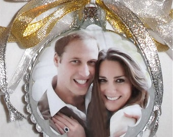 Royals Collection - William and Kate inspired tribute Glass Christmas Ornament
