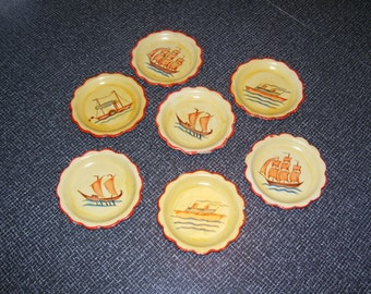 Nautical Coasters, Boat Coasters, Papier Mache Coasters, Set of 7 with Box Jerywil Japan Vintage