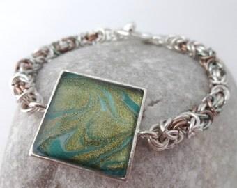 Green Metallic Byzantine Bracelet