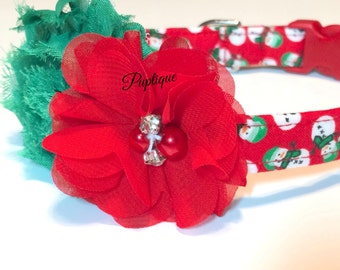 Snowmen Dog Collar - Christmas Dog Collar - Girl Dog Collar - Handmade Dog Collar