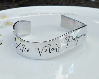 Alis Volat Propriis Bracelet, Latin Quote Jewelry (She flies with her own wings). Gifts for her-Graduation Gift, Inspirational Jewelry.