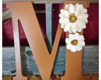 "Tan Monogram ""M"" with White Floral Accents"