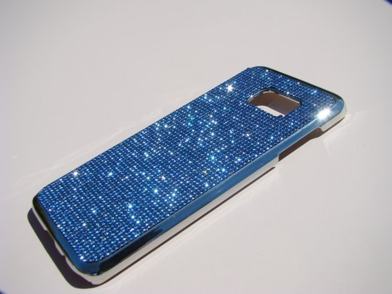 "Galaxy S7 ""Edge"" Blue Sapphire Diamond Crystals on Silver Chrome Case. Velvet/Silk Pouch Bag Included, Genuine Rangsee Crystal Cases"