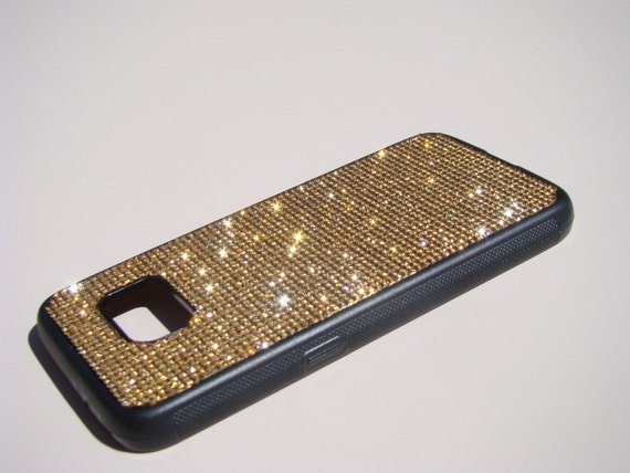 Galaxy S7 Gold Topaz Crystals on Black Rubber Case. Velvet/Silk Pouch Bag Included, Genuine Rangsee Crystal Cases.
