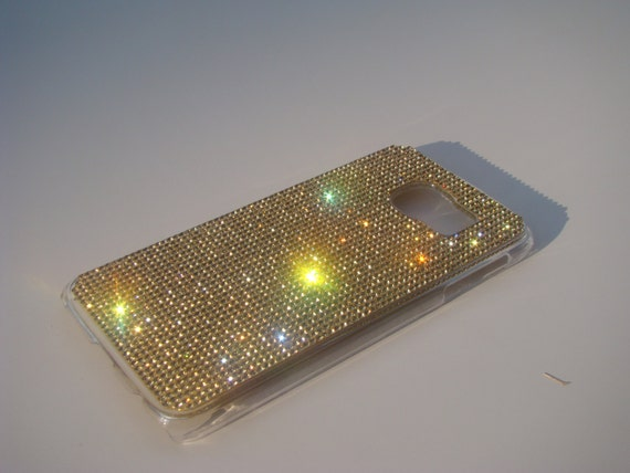 Galaxy S6 Gold Topaz Crystals on Transparent Case. Velvet/Silk Pouch Bag Included, Genuine Rangsee Crystal Cases.