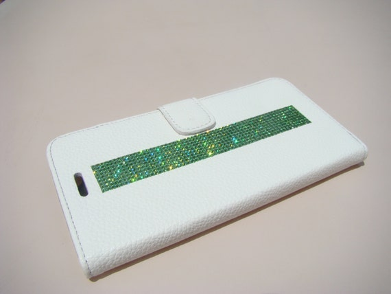 iPhone 6 Plus/ 6s Plus Green Peridot Rhinestone Crystal, White Wallet Case. Velvet/Silk Pouch bag Included, Genuine Rangsee Crystal Cases.