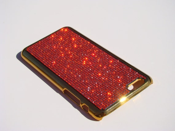"iPhone 6 / 6s 4.7"" Red Siam Rhinestone Crystals on Gold-Bronze Chrome Case. Velvet/Silk Pouch Included, Genuine Rangsee Crystal Cases."